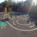 Relining Play Surface Markings in Aley Green 8